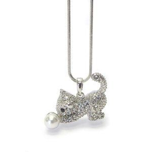 Rhinestone and Faux Pearl Cat Pendant Necklace
